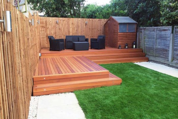 Hardwood garden deck in Bounds Green, London