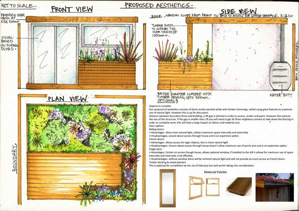 Garden design sketch by FMN Gardens