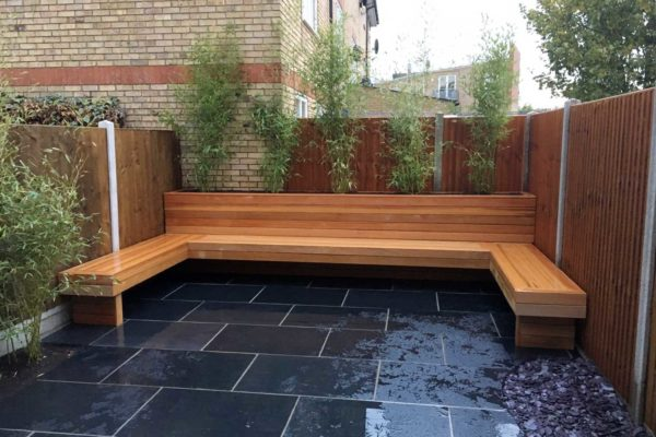 Limestone patio in Hornsey, North London