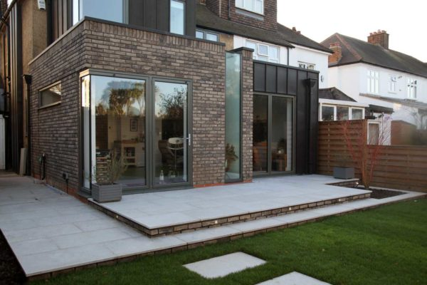 Limestone patio in Forest Gate, North London