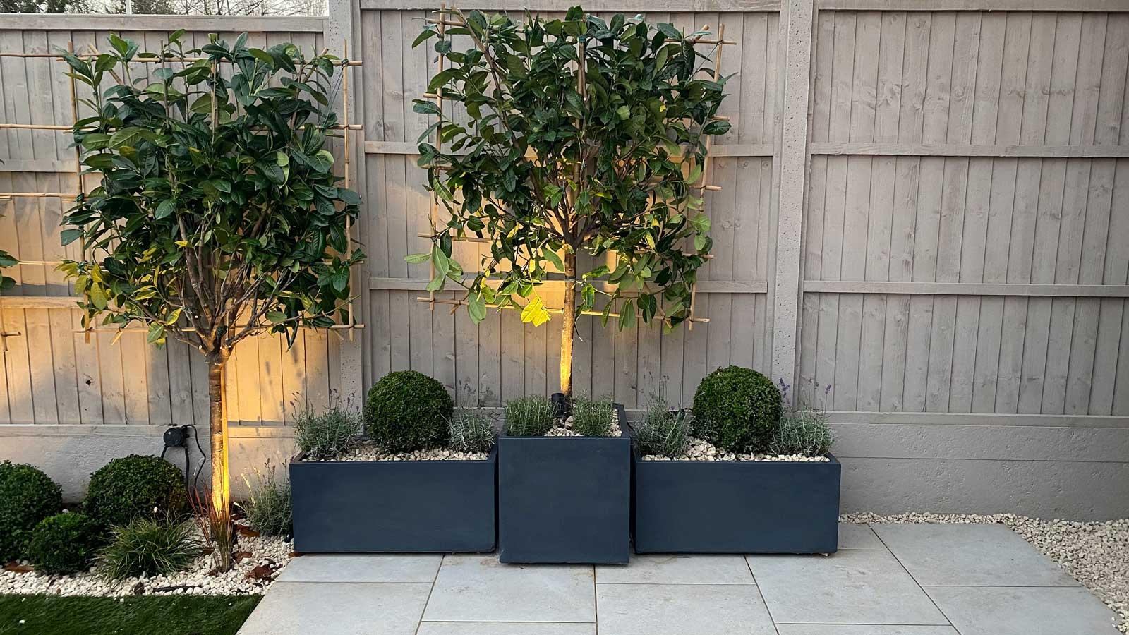 Back Garden in Radlett - patio and planters