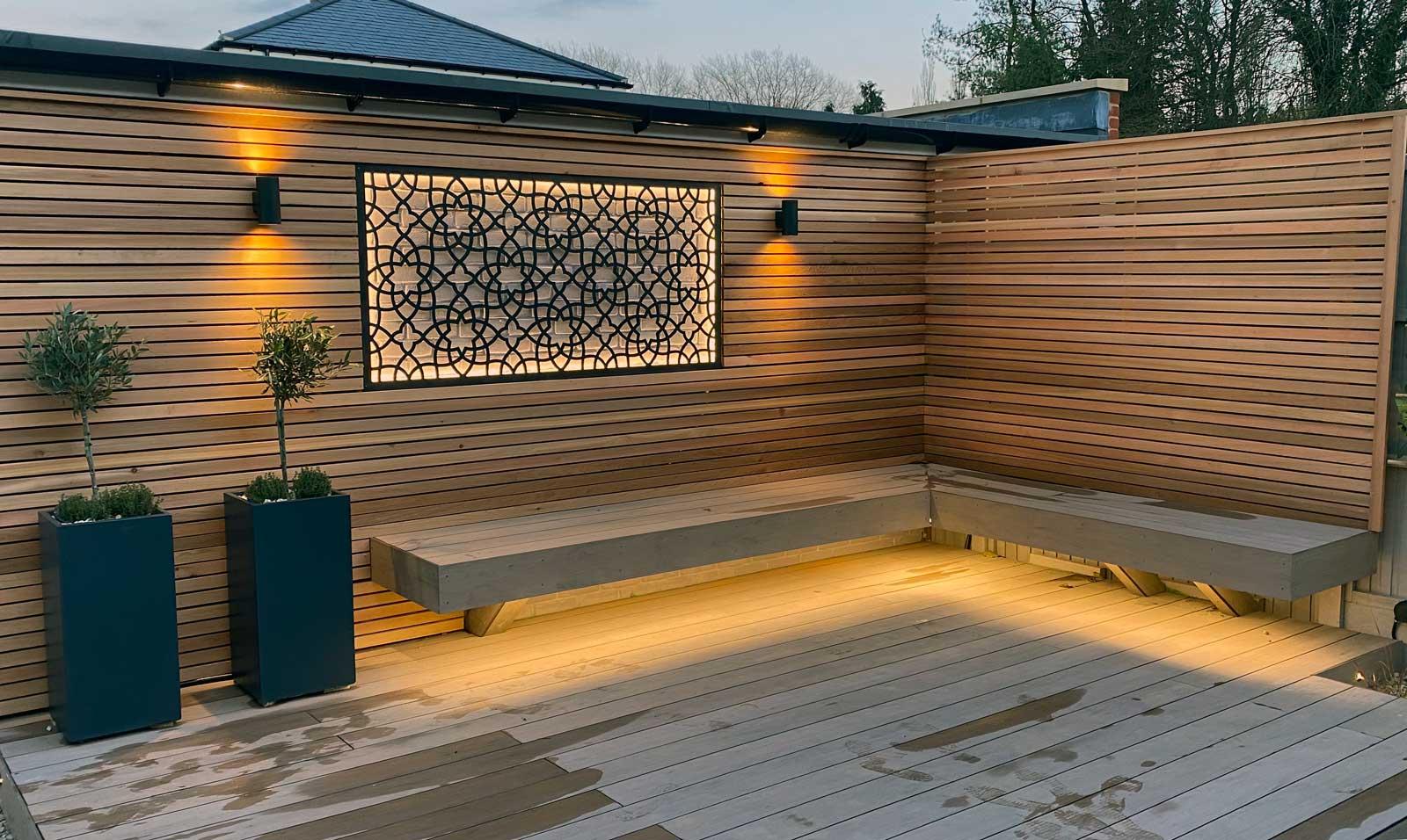 Back garden in Radlett - deck, bench and lights