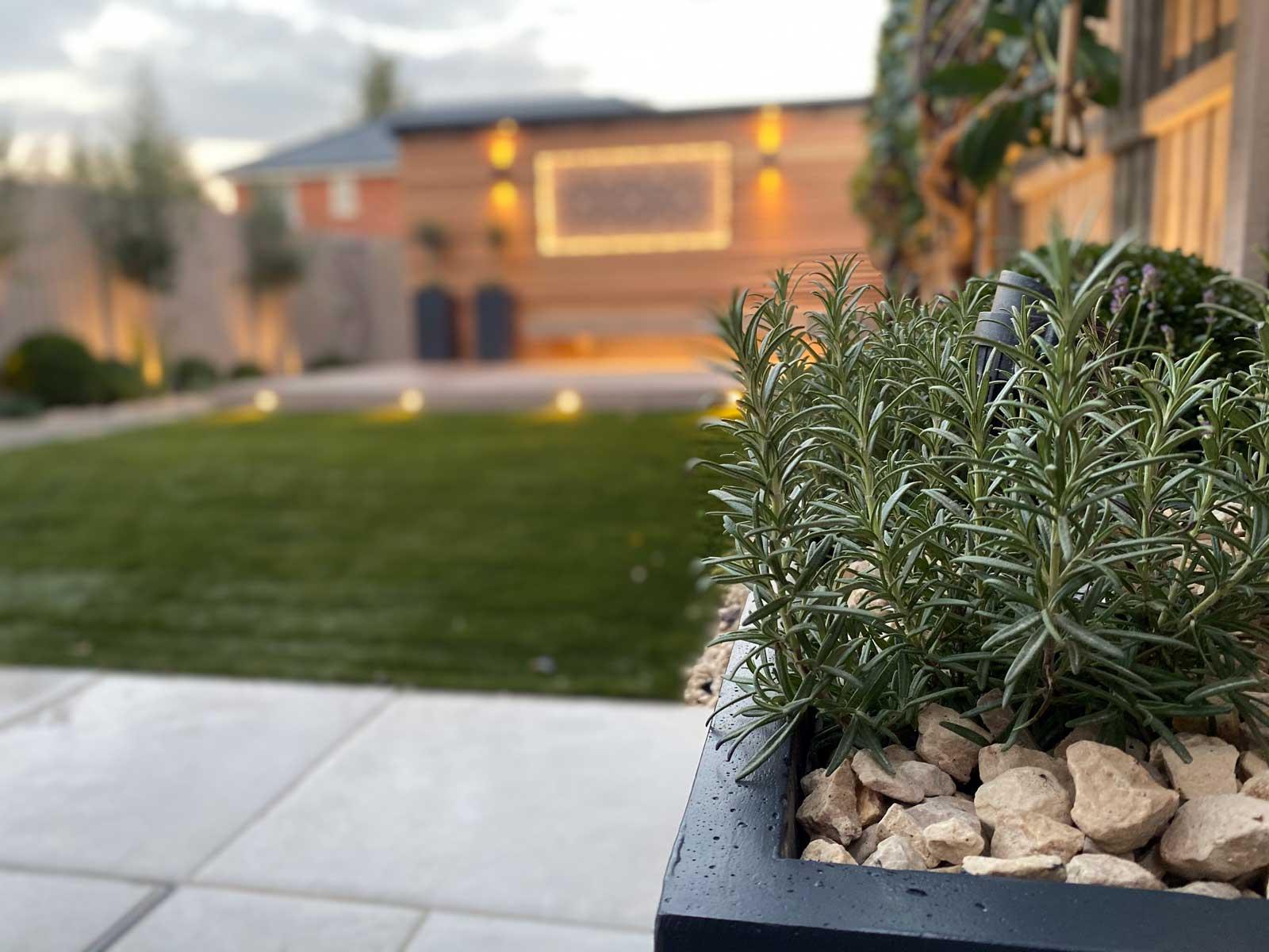 Back Garden in Radlett - planter with herbs