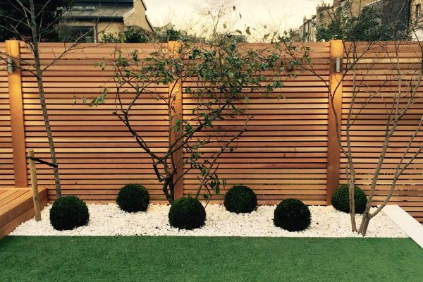 Red cedar batten fence in Hackney