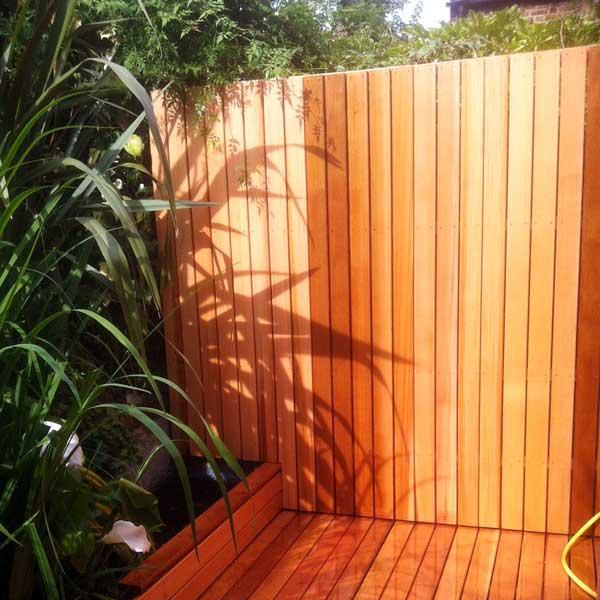 Western red cedar garden fence, North London