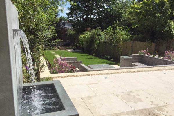 Garden water fountain in North London